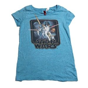 H&M Divided Star Wars Blue Graphic Tee Shirt Top
